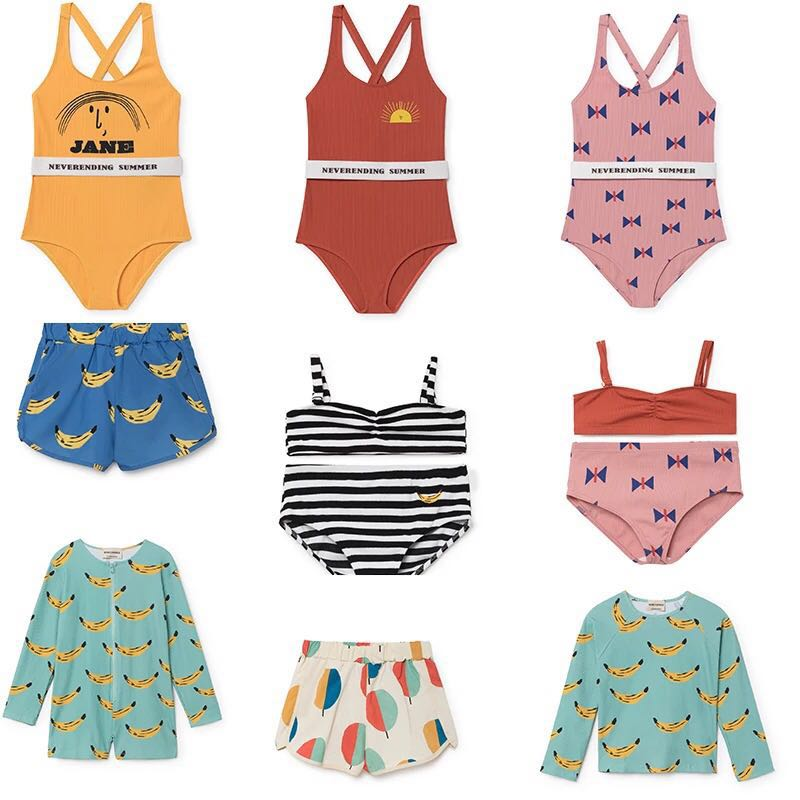 Kids Swimwear Summer Baby Girls Bikini Suit BOBO CHOSES Swimsuit Boys Clothing Bathing Rompers One-piece Swimming Clothes Sets 1 8 years old kids swimsuit for girls lovely yellow duck bathing suit children swimsuit princess one piece swimwear swimming cap