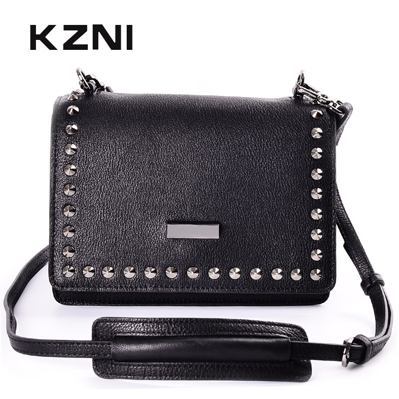KZNI Women Genuine Leather Handbags for Girls Postman Bags Leather Shoulder Bag Female Small Handbag Bolsos Mujer Sac Femme 1442 kzni genuine leather bag female women messenger bags women handbags tassel crossbody day clutches bolsa feminina sac femme 1416