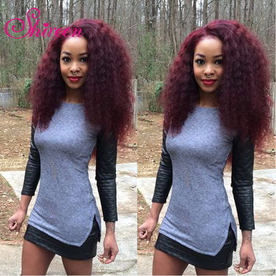 Hair Extensions & Wigs Shireen Pre-colored 3 Bundles Peruvian Curly Hair 10-26 Red Wine 99j Burgundy Pervian Kinky Curl Human Hair Extensions
