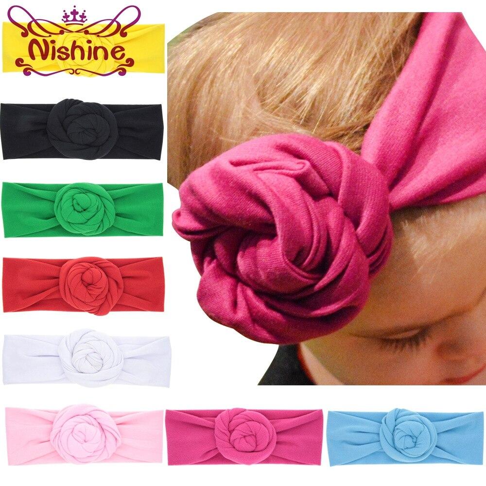 Nishine New Rose Cotton Blend Headwraps Winter Warm Turban Girls Tie Knot Headband Bandeau Bebe Christmas Gift защитный детский шлем