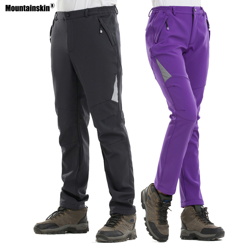 Mountainskin Women Men Thermal Fleece Softshell Waterproof Pants Outdoor Windproof Fishing Camping Hiking Skiing Trousers VA314 все цены