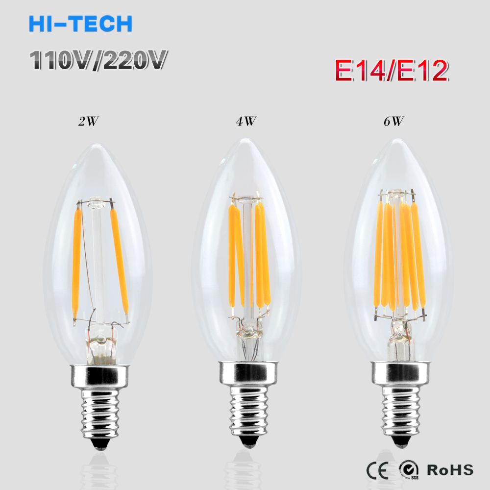buy e14 e12 led light 110v 220v 2w 4w 6w led filament bulb candle light lamp. Black Bedroom Furniture Sets. Home Design Ideas