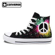 Peace Sign Converse All Star Design Hand Painted Shoes Woman Man High Top Canvas Sneakers Men