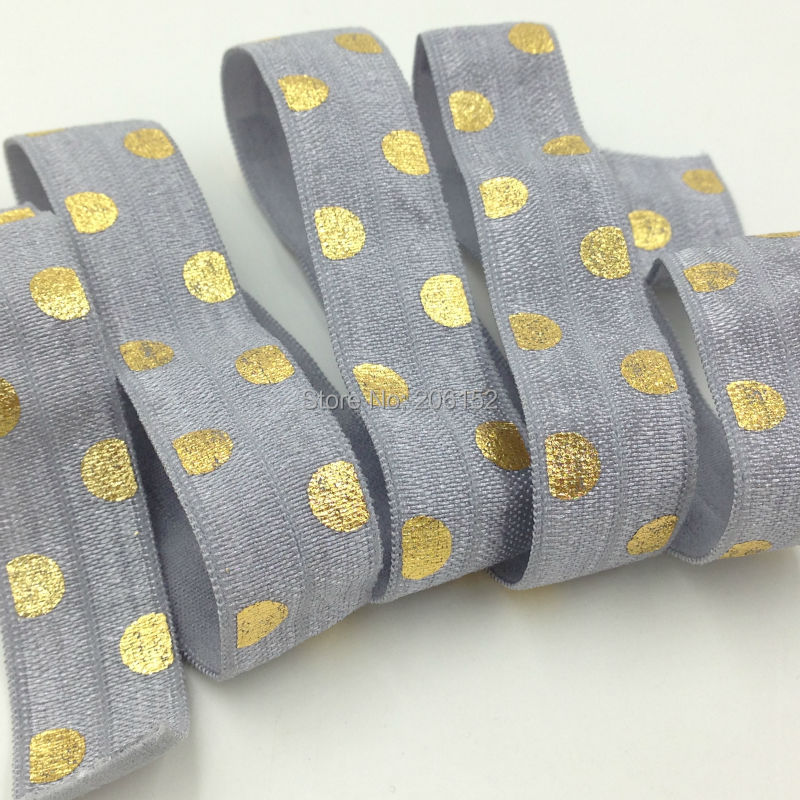 Quality Grey Fold Over Elastic with Polka Dot Print for DIY Hair Supplies  5/8 FOE Ribbon for Headwear Hair Accessories 10Y/lot 8 colors 5 8 fold over elastic black with metallic gold diamond 50yards per lot