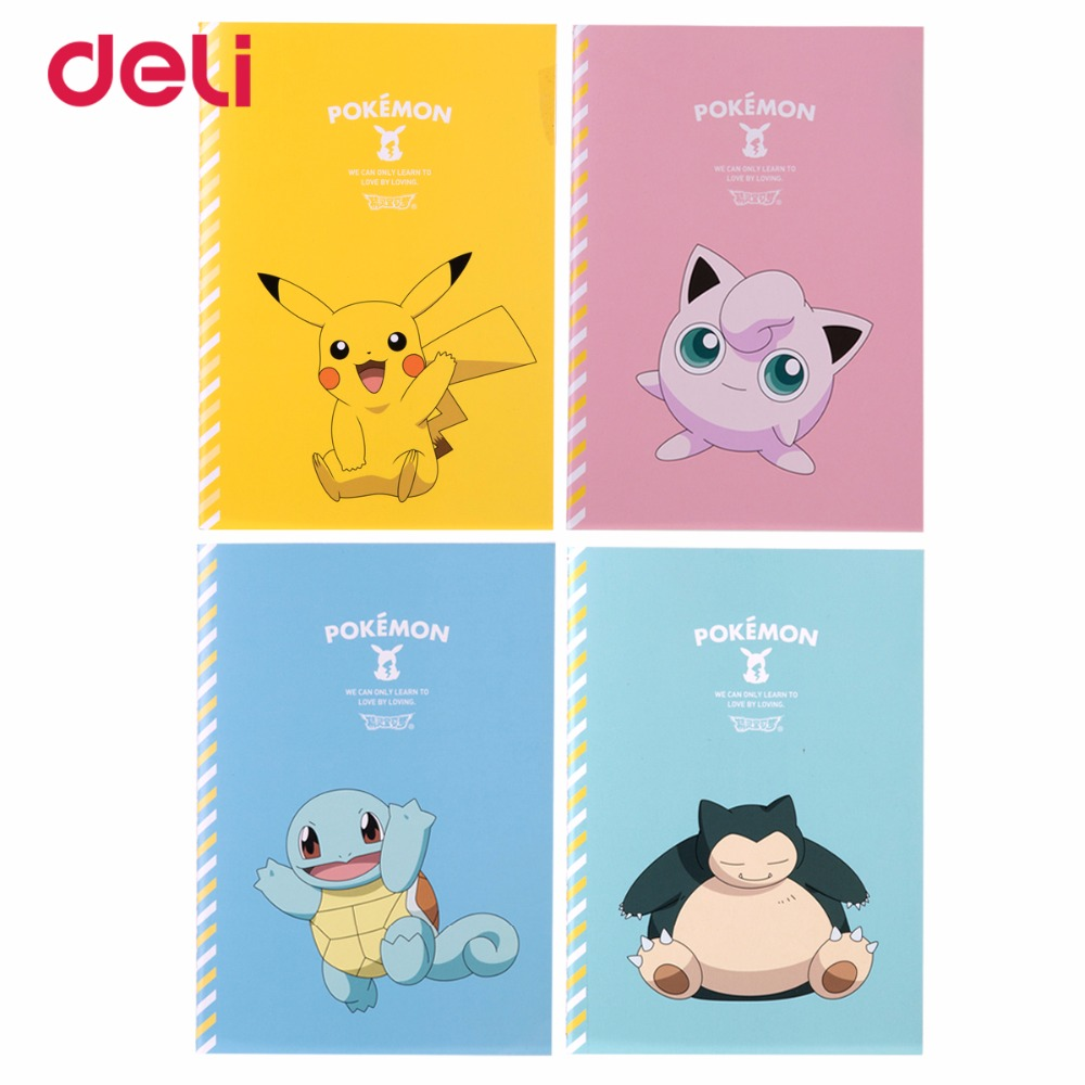 Deli Pokemon Stitching Binding Notebook Paper Cute Pikachu Four Colors Cartoon Diary Notebook Kawaii Book School Office Supplies