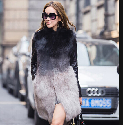 European Uk Style 2017 Autumn Winter High Street Celebrities Genuine Fox Fur Jackets Coats
