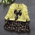 Весна осень девочки с длинным рукавом о шеи цветочный принт с бантом детям платье младенческие одежды roupas де bebe vestidos
