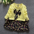 Spring Autumn Baby Girls Long Sleeve O Neck Floral Print Bow Kids Tutu Dress Infant Clothes roupas de bebe vestidos