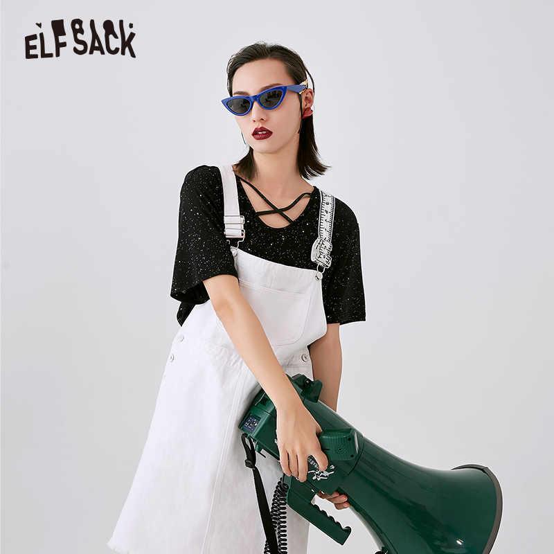 Женское джинсовое платье из хлопка ELF SACK, белые дамские платья А-силуэта без рукавов, уличная повседневная одежда сплошного цвета с карманами для лета, 2019