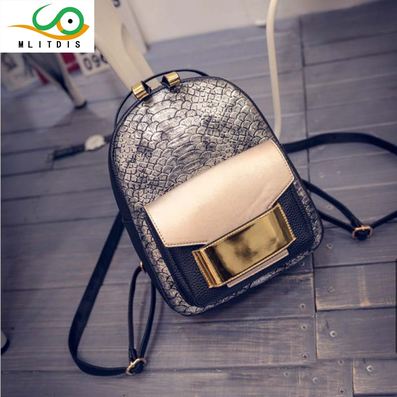 MLITDIS Women Backpack female Bolsas Women's Backpacks For Teenager Girls School Bag Serpentine Crocodile Ladies Bags Designer new brand designer women fashion backpacks simple koran style school for teenager girls ladies shoulder bags black
