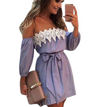 Women Sexy Summer Dress Off Shoulder Lace patchwork dress Ladies robe femme Vintage Print Beach bandage Dress Female Vestidos(China)
