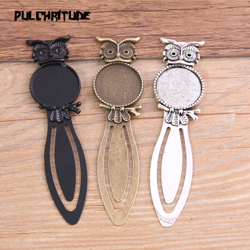 PULCHRITUDE 2pcs Three Color 20mm Cameo Steel Animal Owl Bookmarks Round Cabochon Settings Jewelry Blank Charm