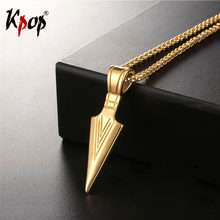 Kpop Vintage Triangle Awl Necklace Gold/Silver/Black Color Wholesale Trendy Stainless Steel Necklaces & Pendants GP635(China)