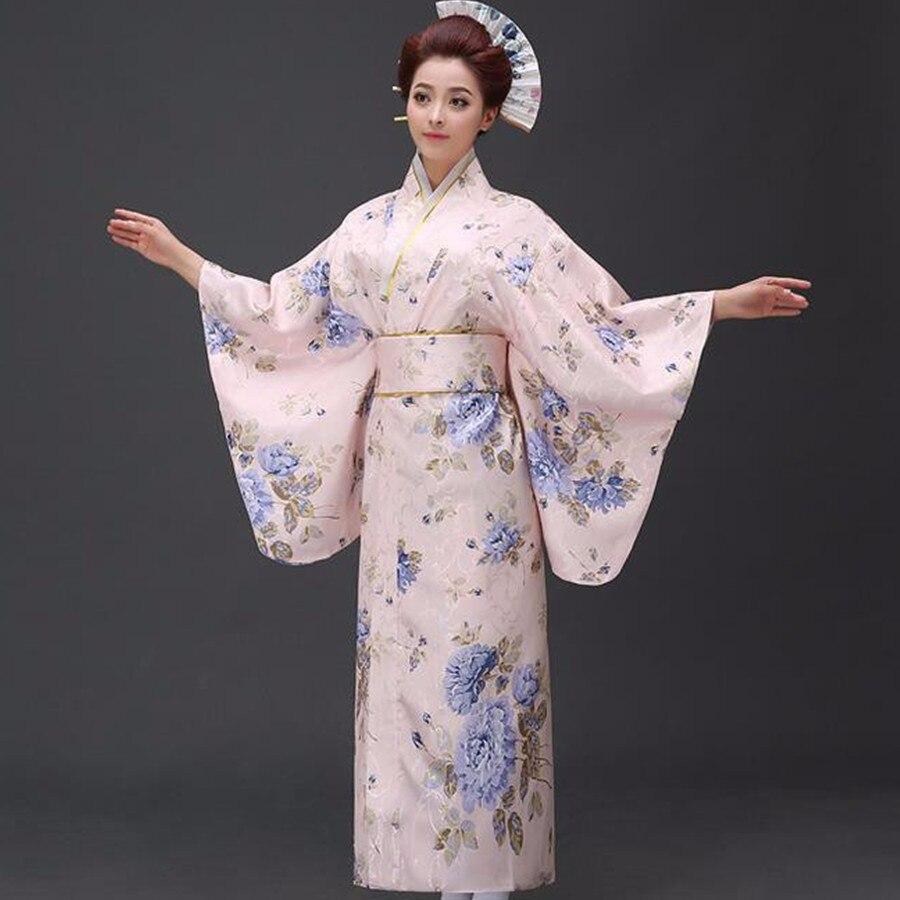 Nouveauté femmes japonaises robe Yukata originale Kimono traditionnel avec Obi Performance Costumes de danse taille unique