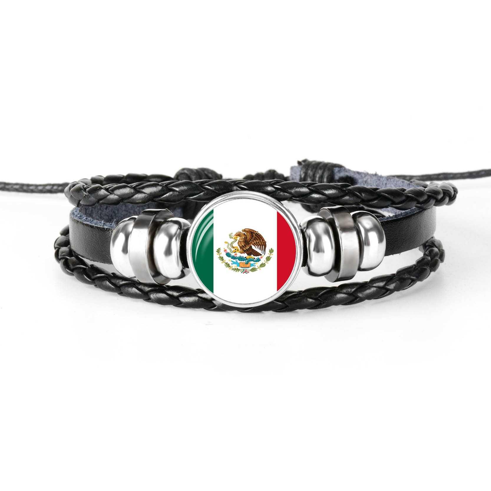 Pulseira de Couro Dos Homens da Bandeira Nacional Do México américa do Haiti Vidro Cabochão Charme Multilayer Trançado Mulheres