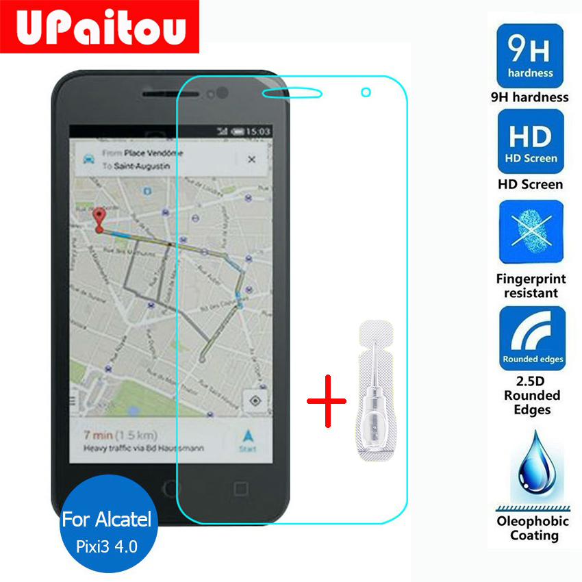 UPaitou Protective Film for Alcatel One Touch Pixi 3 4.0 Screen Protector Tempered Glass on Pixi3 4013M 4013E 4013D Dual sim
