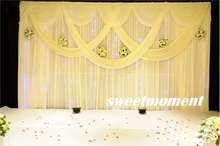 White beautiful  Curtain for Wedding Drape & Frame allocation www peticoat swag and stand with expandable pole
