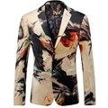 2016 Осень Цветочные Мужчины Печатные Старинные Блейзер Мода Повседневная Дизайнерский Бренд Терно Masculino vT0100