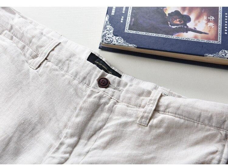 100% Linen Shorts Men Summer Short Pants 2