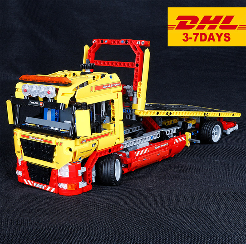 1143pcs Technic 38042 20021 FLATBED TRUCK Building Blocks with electric motor power funtions Car Brick Compatible