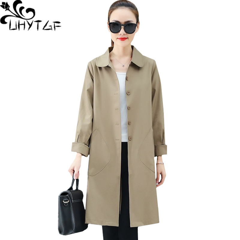 UHYTGF Fashion Female spring autumn windbreaker coats Single breasted plus size   trench   coat for women Casual thin outerwear 1334
