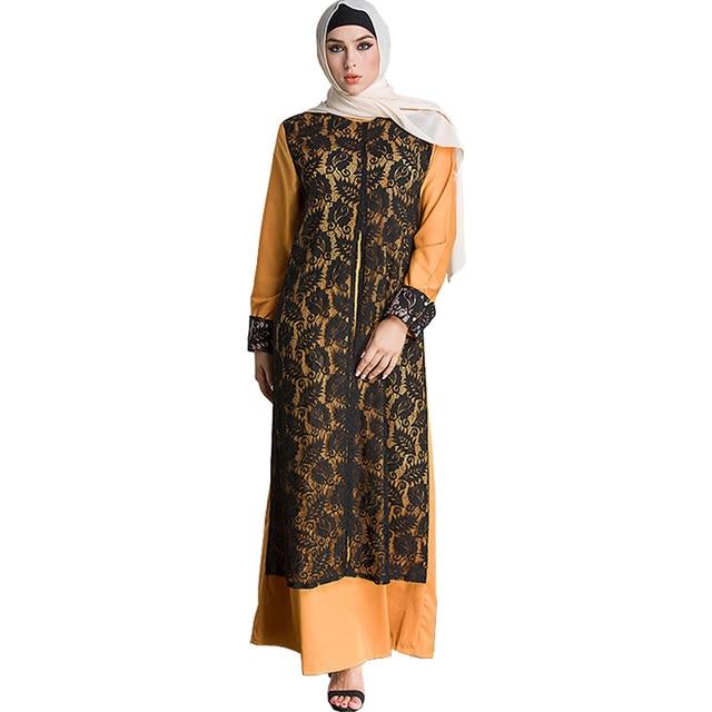 75e57a3f46c7 Spring Autumn Fake 2 Pieces Designer Clothes Saudi Arabia Women Oversized  Lace Long Sleeve Maxi Dress Plus Size Muslim Dresses