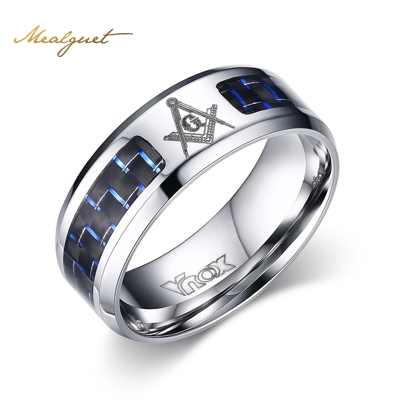 meaeguet cool men masonic rings stainless steel wedding rings for men jewelry with blue black carbon fiber rings jewelry - Cool Wedding Rings