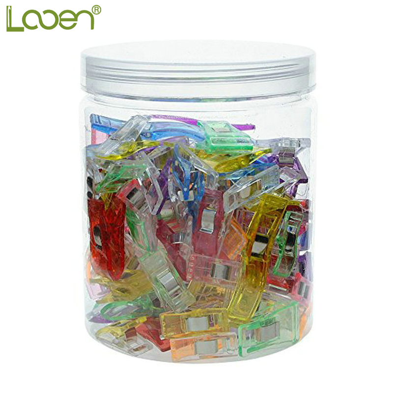 Looen Brand 3 Size 100pcs Plastic Wonder Sewing Clips Clamps Holder Fabric Cloth Patchwork Quilting clips Crochet Tools