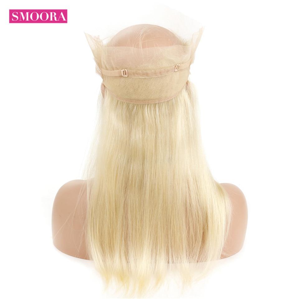 Pré plumé 613 Blonde 360 dentelle frontale péruvienne droite cheveux humains ligne de cheveux naturelle Smoora Non Remy couleur de cheveux 613 frontale