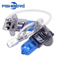 1pair 12V 55W H3 6000K HeadLight Lamp Dark Blue Glass Replacement Car Halogen Light Bulb Super Brighter Free Shipping