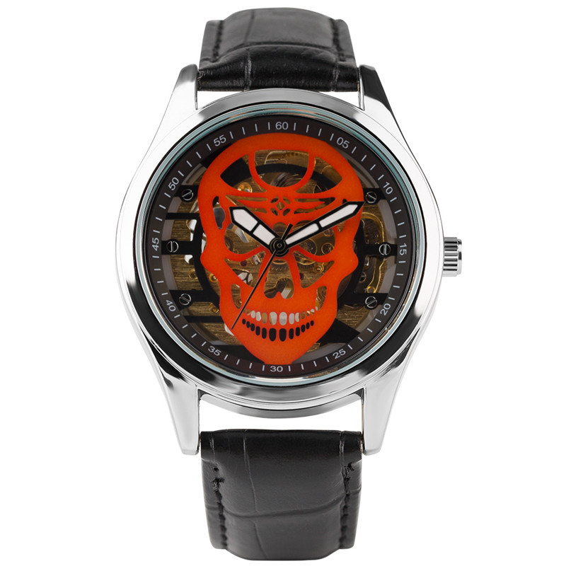 Hand Winding Mechanical Skull Design Mens Wrist Watch Skeleton Sport Steampunk with Leather Strap Military Cool Gifts Watches luxury men mechanical wrist watch circles hand winding crocodile embossed genuine leather skeleton dial gentleman gear windup