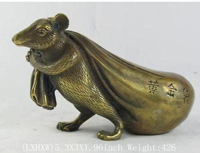 Винтаж Подпись Статуя Латунь Медь Fortune Лаки статуя мышь меч широкий украшения сада