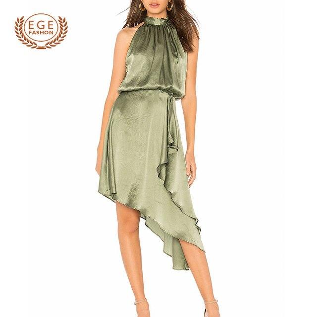 Women Halter Dress Elegant Evening Sexy Club Dresses Summer Women Party Dress Vestidos Sexy Irregular Midi Dresses
