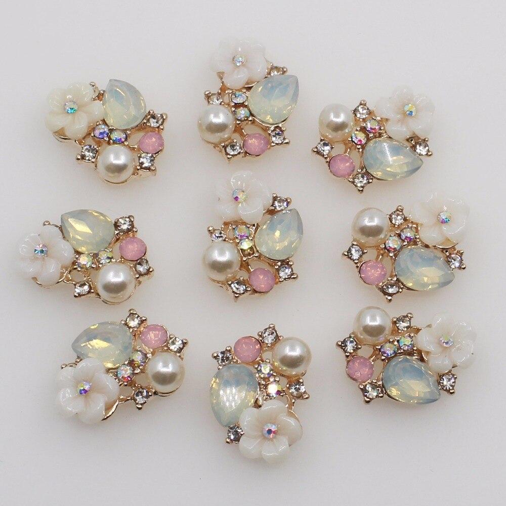 10pcs/lot 19mm*14mm Small Fresh Five-petal Flower Pearl Rhinestone Alloy DIY Accessories Clothing Bag Decoration Craft Supplies