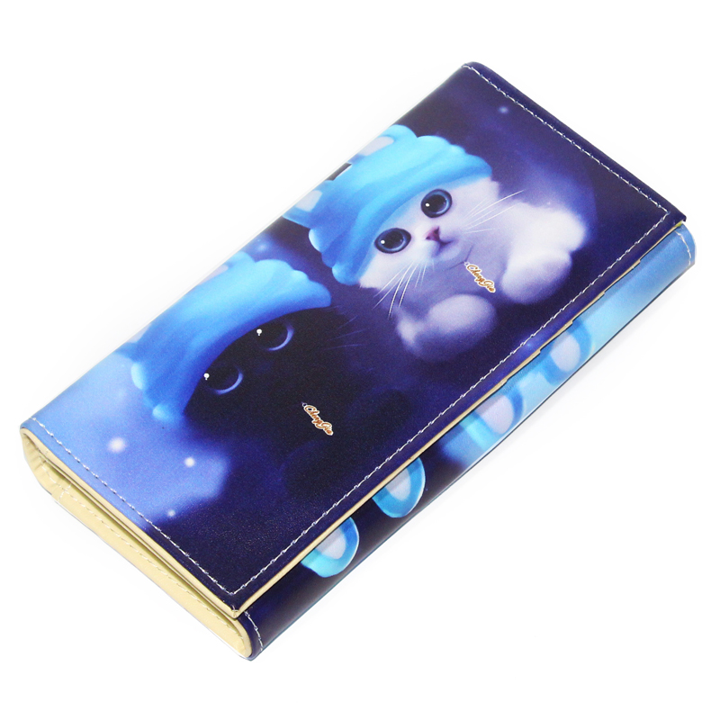 Cute Cat Animal Prints Women Wallets Coin Purse Pocket Lady Purses Money Bags Pouch Girls Long Wallet ID Cards Holder Notecase women 3 cute cat short wallet animal printing purse card holder coin bags