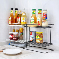 ZIDUKE Double Layers Iron Kitchen Storage Rack Spice Condiment Holder Kitchen Bathroom Storage Holder Rack