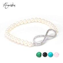 Thomas Freshwater Pearl, Black Onyx, Pink Quartz Beads Infinity Bracelet, Top Quality Jewelry Gift Women Men TS B59