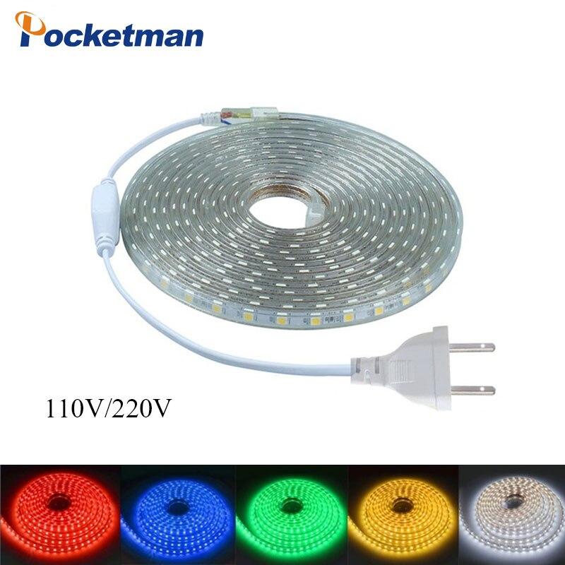 LED Strip 5050 AC110V-220V Waterproof Flexible LED light Tape lamp Outdoor String 1M 2M 3M 4M 5M 10M 12M 15M 20M 60LEDs/M