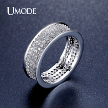 UMODE New Round Pave Luxury Wedding Rings Rhodium plated Accessories Jewelry For Women Fashion Trend Engagement Bague AUR0352