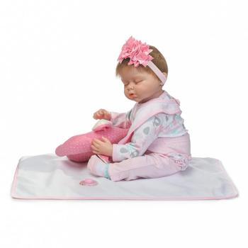 Biberons Reborn | NPK Nouvelle Fille Reborn Bébés Poupées Rose éléphant Oreiller Avec Sucette Bouteille Silicone Reborn Bébé Poupées Pour Enfant Cadeau 22