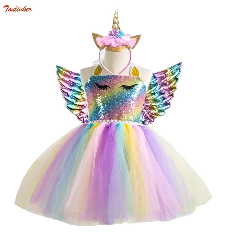 Girls Unicorn Pony TUTU Dress With Gold Headband Wings Kids Sequin Princess Party Dress Children Unicorn Costumes 2019 New 2-10T