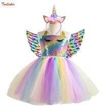 Vestido con tutú de unicornio para niñas, tutú con diadema dorada, alas, lentejuelas, Princesa, fiesta, disfraces de unicornio, 2 10T, novedad de 2019