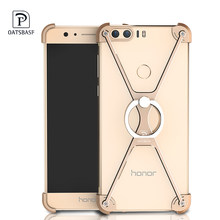Oatsbasf Cover Honor 8 V8 V9 Case Metal Frame Border Shockproof Phone Case For Huawei Honor8 Stand Holder Cover + Ring Holder(China)
