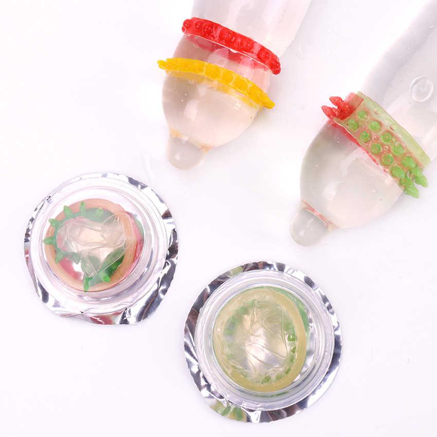1PC 大人の大人のおもちゃアロタイプコンドーム G スポット膣刺激ペニススリーブリブ点線スパイクラテックス潤滑コンドーム