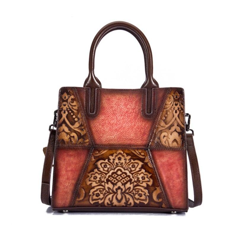 Retro Cowhide Top Handle Cross Body Bag Briefcase Tote Handbag Luxury Genuine Embossed Leather Women Messenger Shoulder Bag