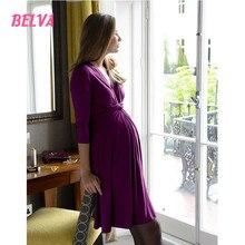 Belva 2017 Bamboo Fiber Women Maternity Jersey Flare Baby Shower Dress Half Sleeves Nursing Friendly Maternity Wrap Dress DS002