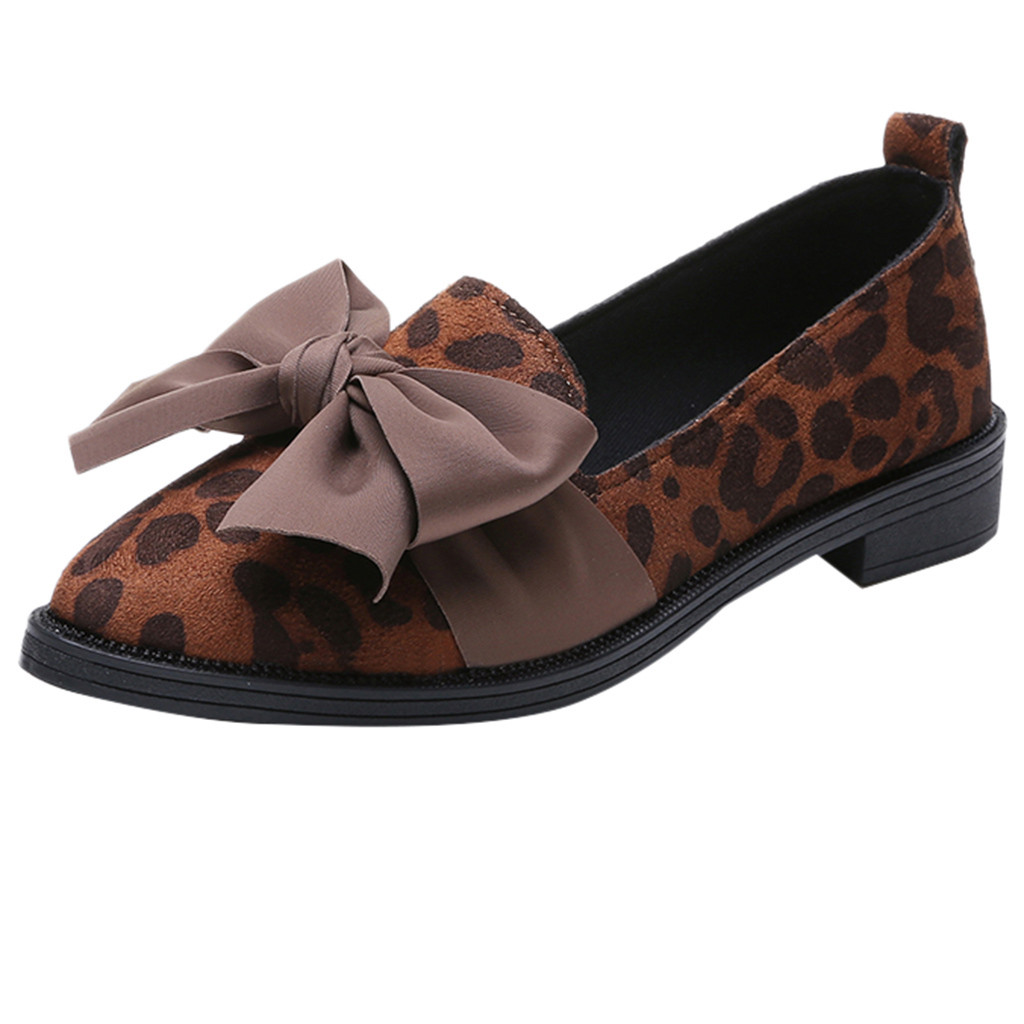 6ea69fe1111 Detail Feedback Questions about SAGACE Shoes Women Pointed Toe Flock Slip  On Shoes Leopard Print Jobs Single Shoes Bow fashion new shoes woman  2019JAN22 on ...