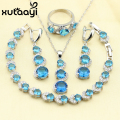 XUTAAYI 4PCS Jewelry Set 925 Sterling Silver Fetching Alluring Blue Created Topaz Earrings Ring Necklace Pendant Bracelet