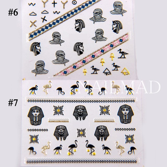 1 sheet NailMAD Horus Egyptian Nail Art Sticker Egyptian Eye of Horus 3D Nail Sticker Sphinx Nail Sticker 4