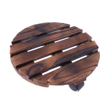 Round Wheeled Wooden Planter Caddy Movable Plant Flower Pot Stand with Wheels for Garden Home(China)
